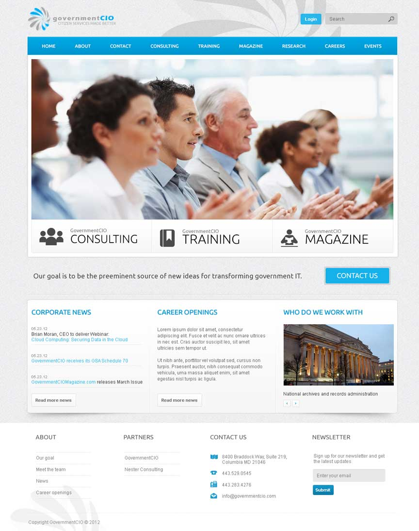GovernmentCIO Homepage Website Design for Drupal