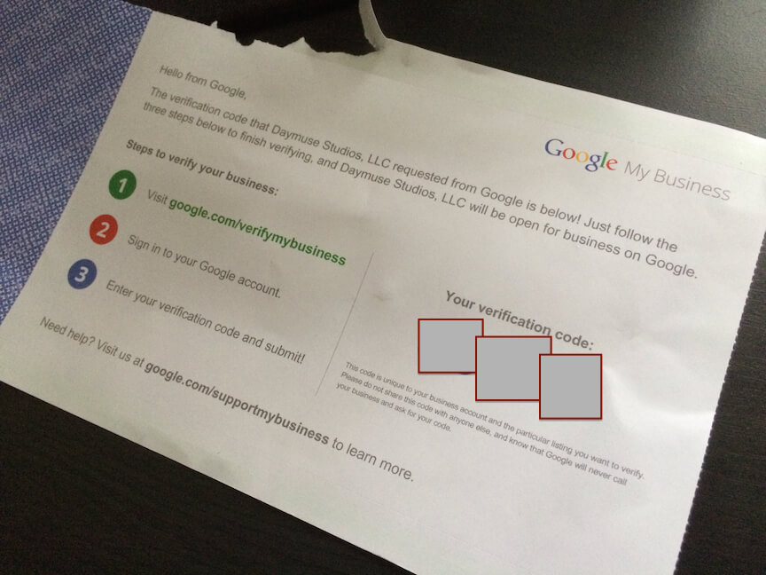 Google+ My Business Verification Postcard