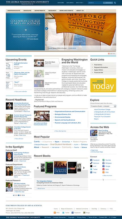GW's Universal Web Presence Design System Mockup
